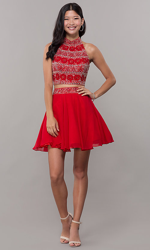 Image of two-piece short chiffon homecoming dress with t-back. Style: BL-11623 Detail Image 3