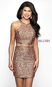 Image of sequin racerback two-piece homecoming party dress. Style: BL-B112 Front Image