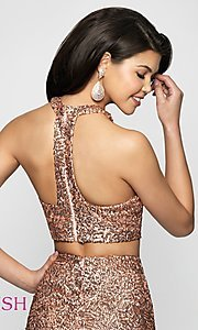 Image of sequin racerback two-piece homecoming party dress. Style: BL-B112 Detail Image 2