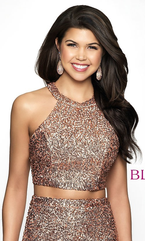 Image of sequin racerback two-piece homecoming party dress. Style: BL-B112 Detail Image 1