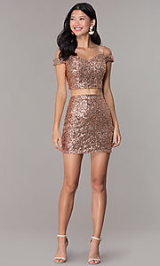Image of off-the-shoulder two-piece sequin homecoming dress. Style: BL-B113 Detail Image 3