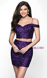 Image of off-the-shoulder two-piece sequin homecoming dress. Style: BL-B113 Front Image