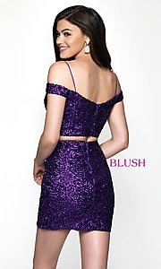 Image of off-the-shoulder two-piece sequin homecoming dress. Style: BL-B113 Back Image