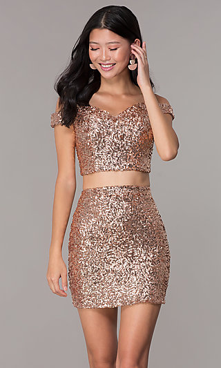 Off-the-Shoulder Two-Piece Sequin Homecoming Dress
