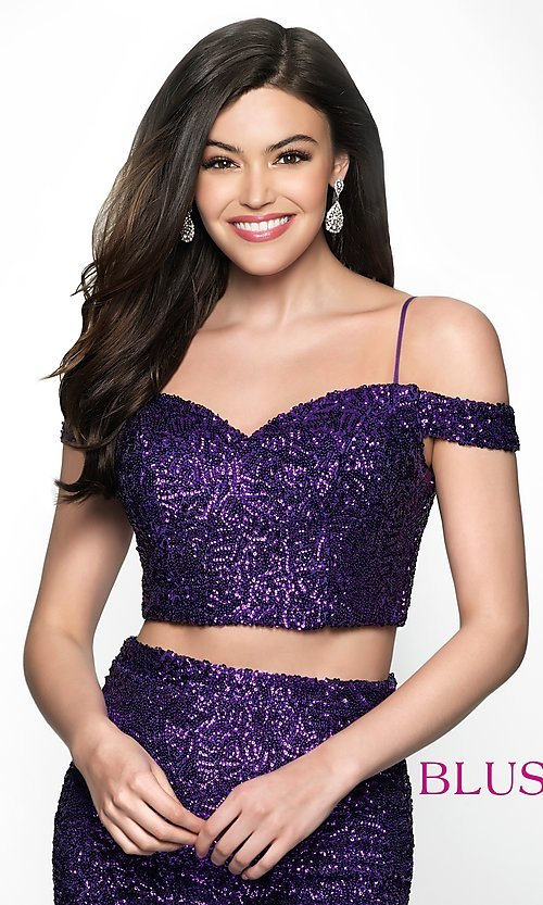 Image of off-the-shoulder two-piece sequin homecoming dress. Style: BL-B113 Detail Image 1
