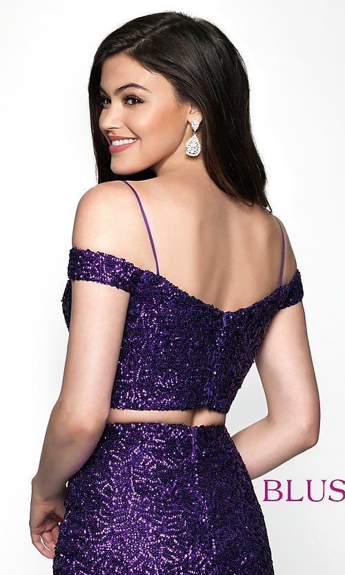 Image of off-the-shoulder two-piece sequin homecoming dress. Style: BL-B113 Detail Image 2