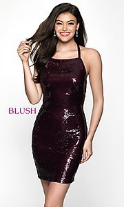 Image of open-back short homecoming dress with sequins. Style: BL-B125 Front Image
