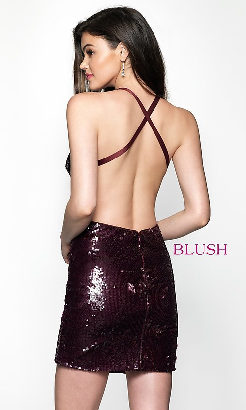 Image of open-back short homecoming dress with sequins. Style: BL-B125 Back Image