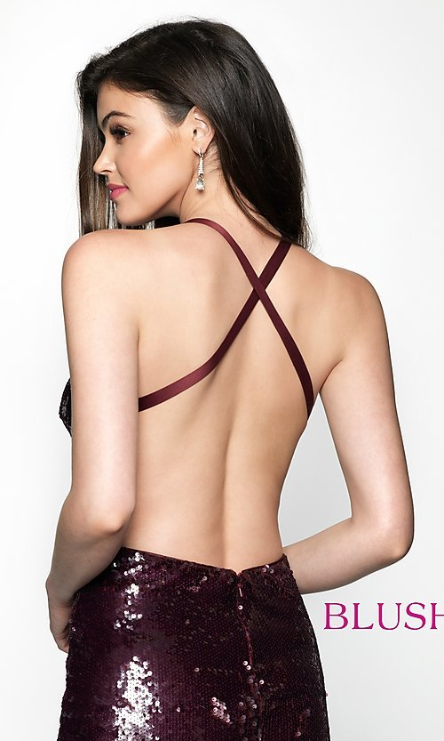 Image of open-back short homecoming dress with sequins. Style: BL-B125 Detail Image 2