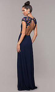 Image of long lace-bodice cap-sleeved prom dress. Style: MT-9030 Front Image