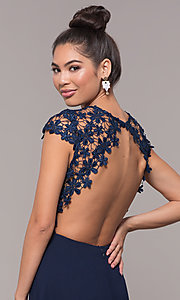 Image of long lace-bodice cap-sleeved prom dress. Style: MT-9030 Detail Image 1