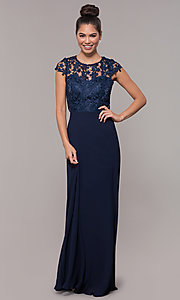 Image of long lace-bodice cap-sleeved prom dress. Style: MT-9030 Detail Image 3