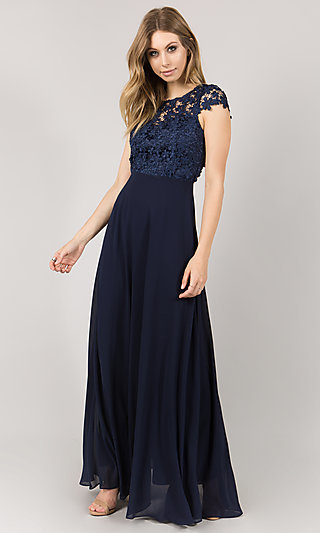 Long Empire Waist Cap Sleeved Prom Dress