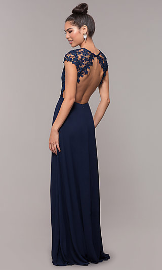 Long Lace-Bodice Cap-Sleeved Prom Dress