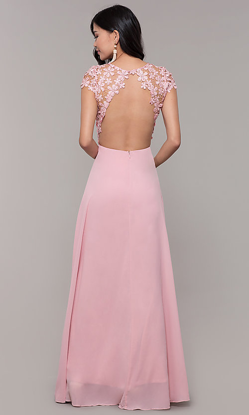 Image of long lace-bodice cap-sleeved prom dress. Style: MT-9030 Back Image