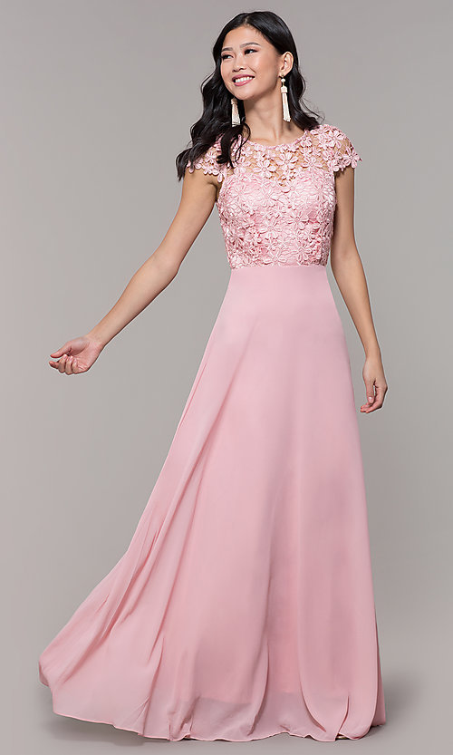 Image of long lace-bodice cap-sleeved prom dress. Style: MT-9030 Detail Image 2