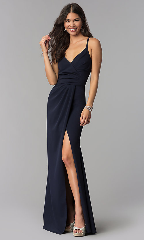 Image of faux-wrap long v-neck formal evening dress. Style: MCR-2601 Front Image