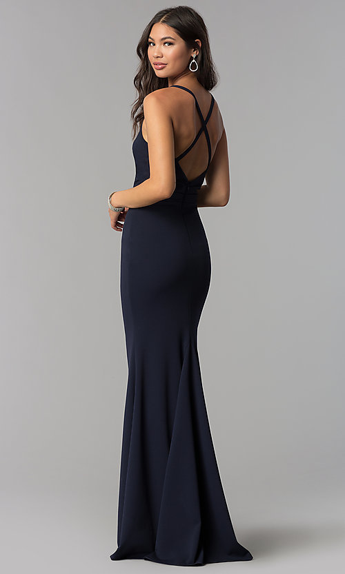 Image of faux-wrap long v-neck formal evening dress. Style: MCR-2601 Back Image