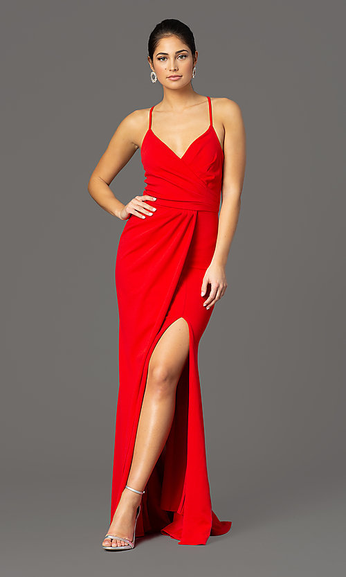 Image of faux-wrap long v-neck formal evening dress. Style: MCR-2601 Detail Image 3