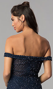 Image of beaded off-the-shoulder short homecoming party dress. Style: JOJ-JE-18533 Detail Image 2