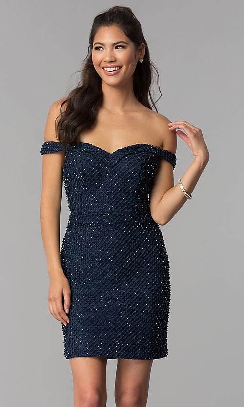 Image of beaded off-the-shoulder short homecoming party dress. Style: JOJ-JE-18533 Front Image