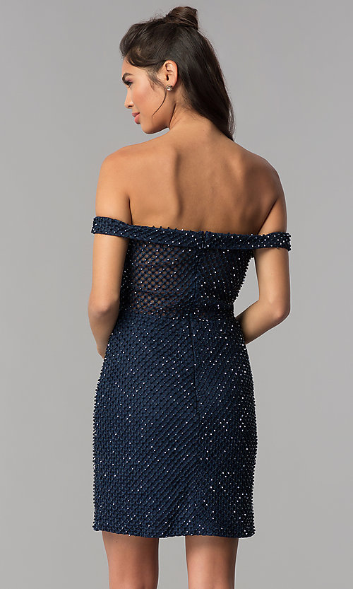 Image of beaded off-the-shoulder short homecoming party dress. Style: JOJ-JE-18533 Back Image