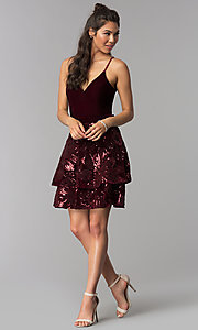 Image of burgundy velvet v-neck homecoming short tiered dress. Style: JOJ-JE-18517 Detail Image 3