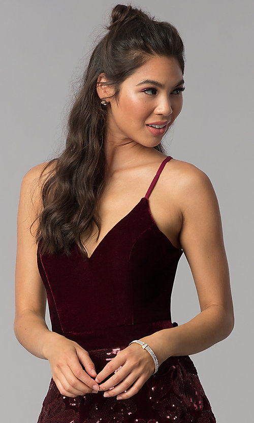 Image of burgundy velvet v-neck homecoming short tiered dress. Style: JOJ-JE-18517 Detail Image 1