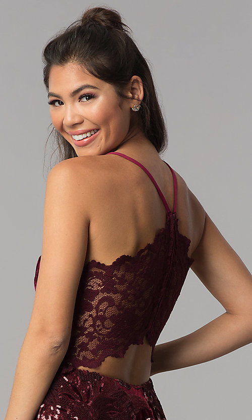 Image of burgundy velvet v-neck homecoming short tiered dress. Style: JOJ-JE-18517 Detail Image 2
