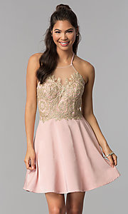 Image of high-neck embroidered halter short homecoming dress. Style: JOJ-JE-18545 Front Image