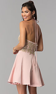 Image of high-neck embroidered halter short homecoming dress. Style: JOJ-JE-18545 Back Image