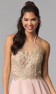 Image of high-neck embroidered halter short homecoming dress. Style: JOJ-JE-18545 Detail Image 1