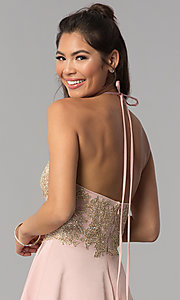 Image of high-neck embroidered halter short homecoming dress. Style: JOJ-JE-18545 Detail Image 2