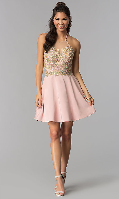 Image of high-neck embroidered halter short homecoming dress. Style: JOJ-JE-18545 Detail Image 3