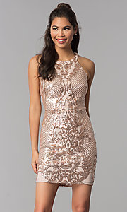 Image of rose gold pink sequin-print short homecoming dress. Style: JOJ-JE-18561 Front Image