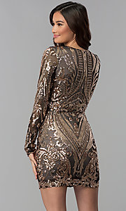 Image of short copper-sequin black-mesh sleeved party dress. Style: JOJ-JE-18559 Back Image