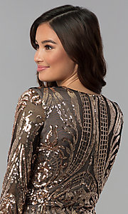 Image of short copper-sequin black-mesh sleeved party dress. Style: JOJ-JE-18559 Detail Image 2