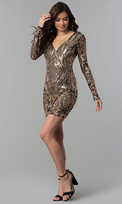 Image of short copper-sequin black-mesh sleeved party dress. Style: JOJ-JE-18559 Detail Image 3
