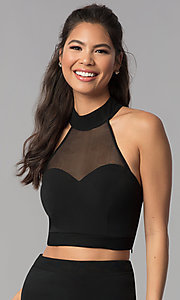Image of high-neck short two-piece black homecoming dress. Style: JOJ-JE-18564 Detail Image 1
