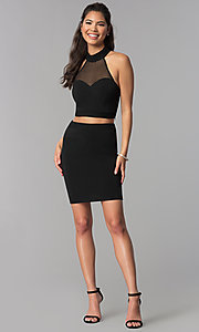 Image of high-neck short two-piece black homecoming dress. Style: JOJ-JE-18564 Detail Image 3