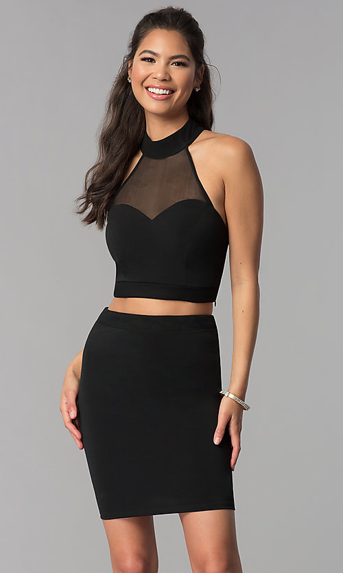 Image of high-neck short two-piece black homecoming dress. Style: JOJ-JE-18564 Front Image