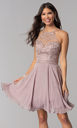 Short Homecoming Party Dress with Embroidery