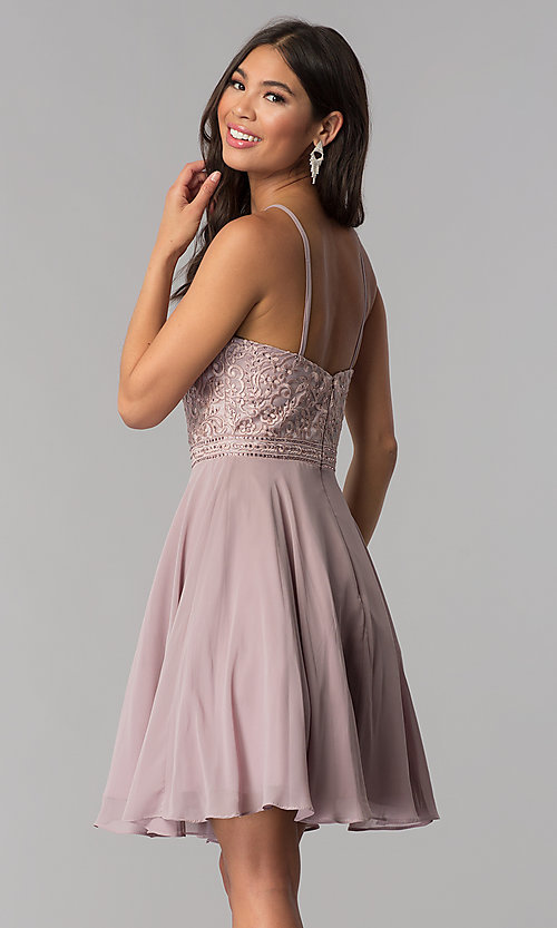 Image of short homecoming party dress with embroidery. Style: DQ-PL-3008 Back Image