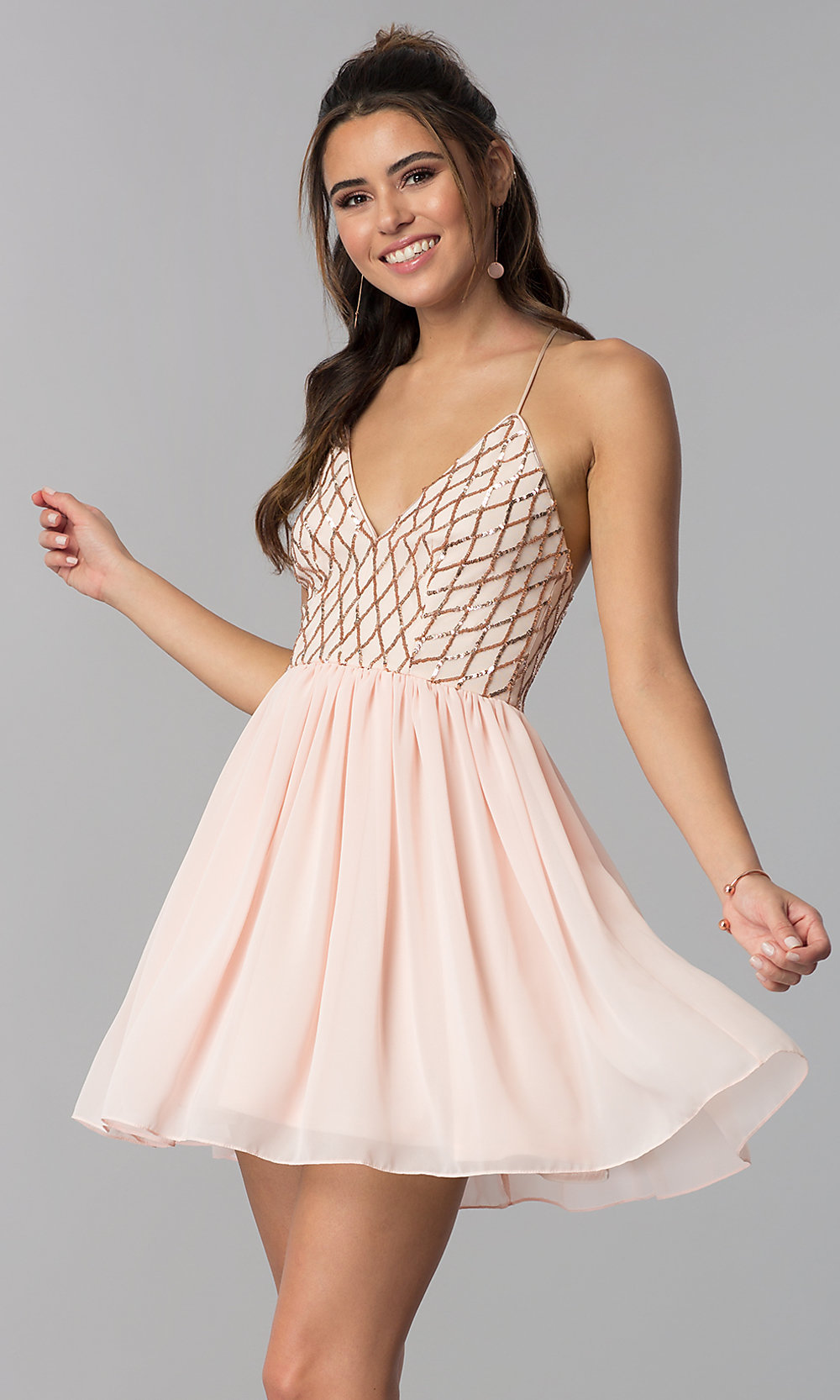 777bc0f8054 Tap to expand · Image of rose gold v-neck short party dress ...