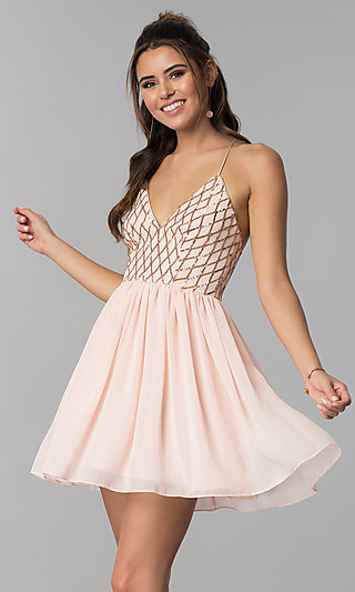 Rose Gold V-Neck Short Party Dress with Sequins