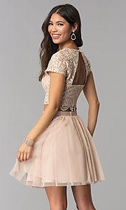 Image of short-sleeve two-piece rose gold homecoming dress. Style: FLA-37515 Back Image