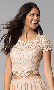Image of short-sleeve two-piece rose gold homecoming dress. Style: FLA-37515 Detail Image 1