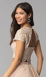 Image of short-sleeve two-piece rose gold homecoming dress. Style: FLA-37515 Detail Image 2