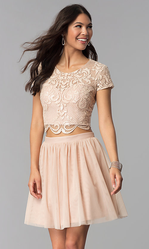 Image of short-sleeve two-piece rose gold homecoming dress. Style: FLA-37515 Front Image