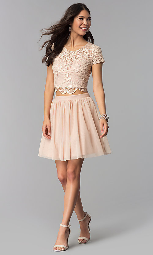 Image of short-sleeve two-piece rose gold homecoming dress. Style: FLA-37515 Detail Image 3